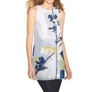 White House Black Market Watercolor Floral Tunic